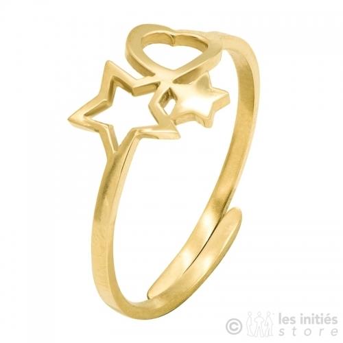 Bague coeur et étoiles dorée