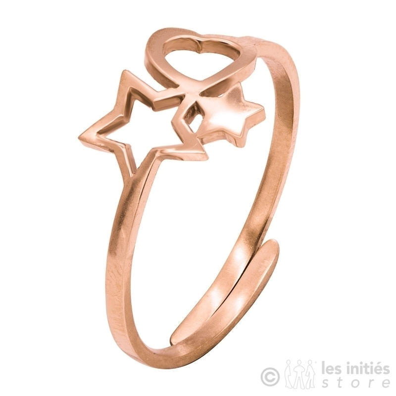 heart star ring pink gold