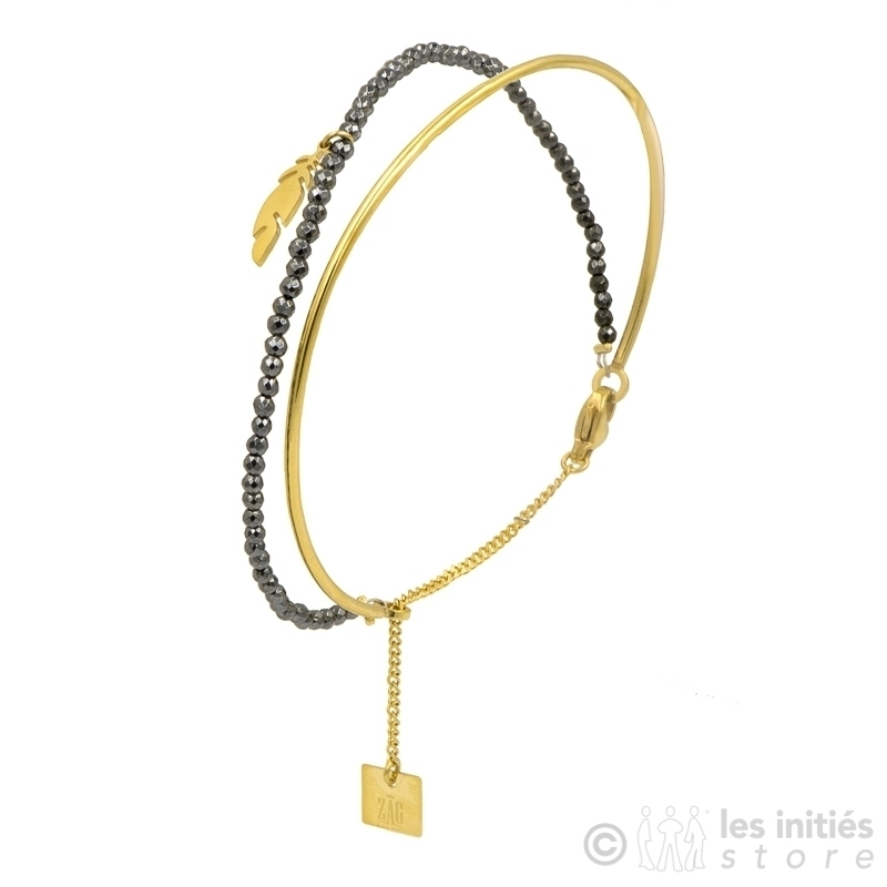 Bracelet Zag rigide et perlé