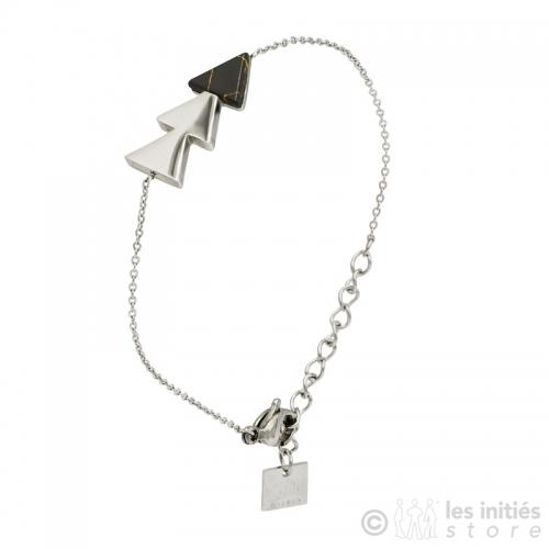 Bracelet triangles pierre noire acier anallergique