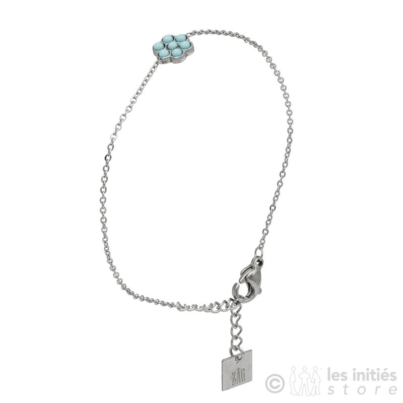 Bracelet fleur turquoise anti allergique