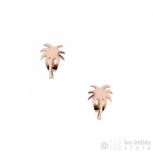 boucles d'oreilles palmiers doré rosé