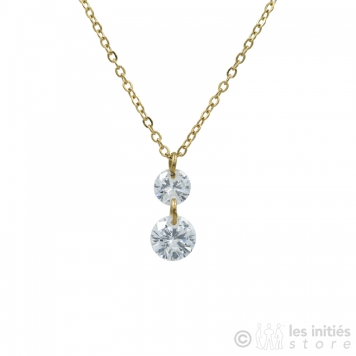 double pendant crystal gold necklace