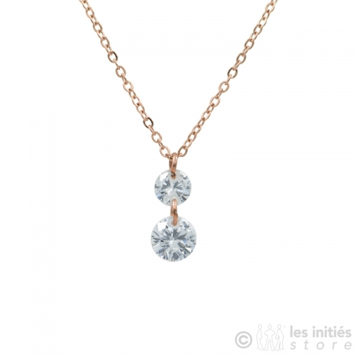 collier double strass rosé