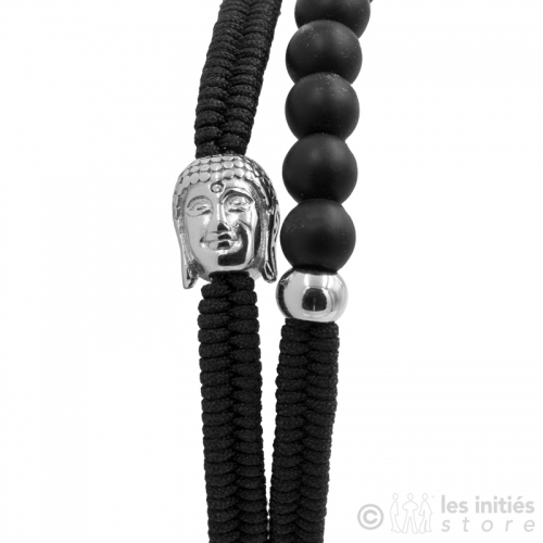 silver buddha head and black beads bracelet