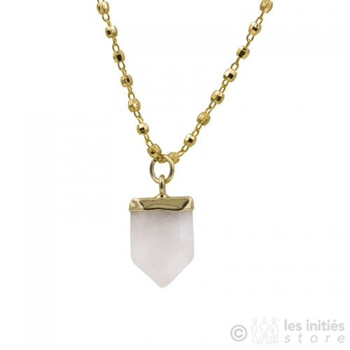 collier quartz rose zag bijoux