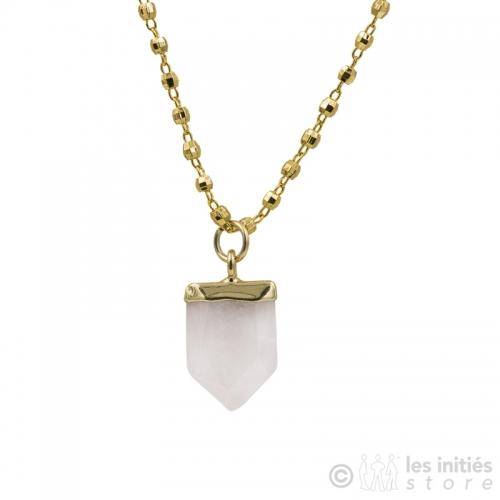 collier quartz rose zag bijoux