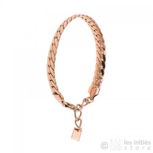 Bracelet grosse chaîne plate dorée rosée