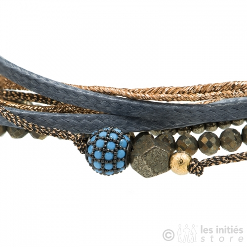 bracelet plusieurs rangs perles turquoise