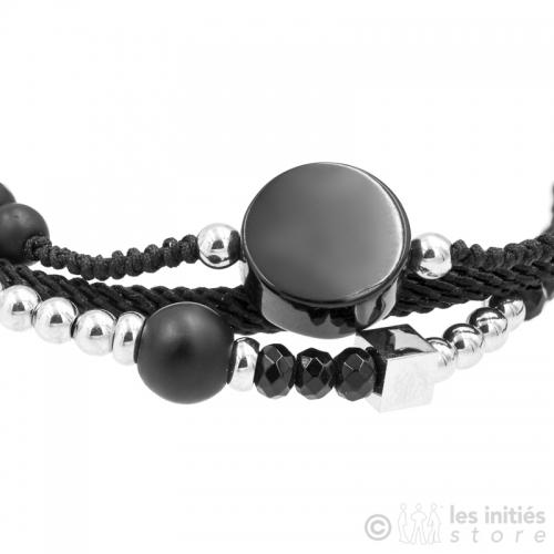 bracelet perlé noir et acier