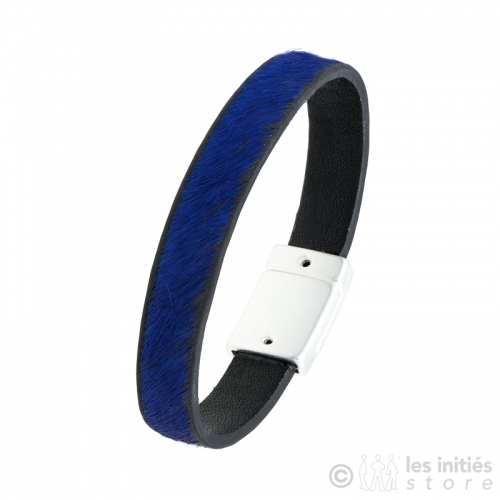 blue air on leather bracelet