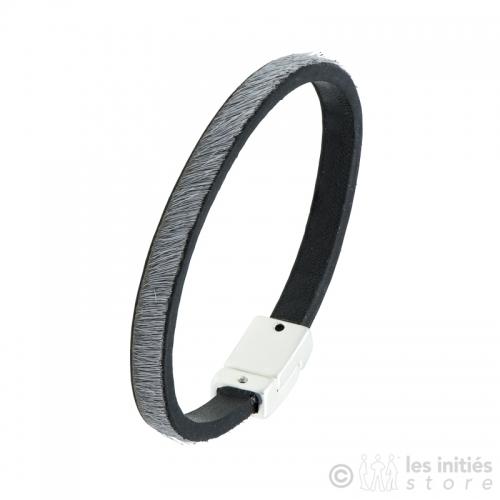 bracelet cuir poulain gris