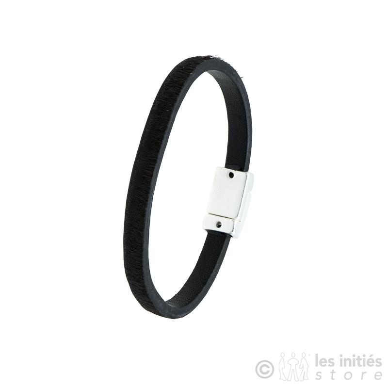 bracelet poulain noir fermoir aimanté