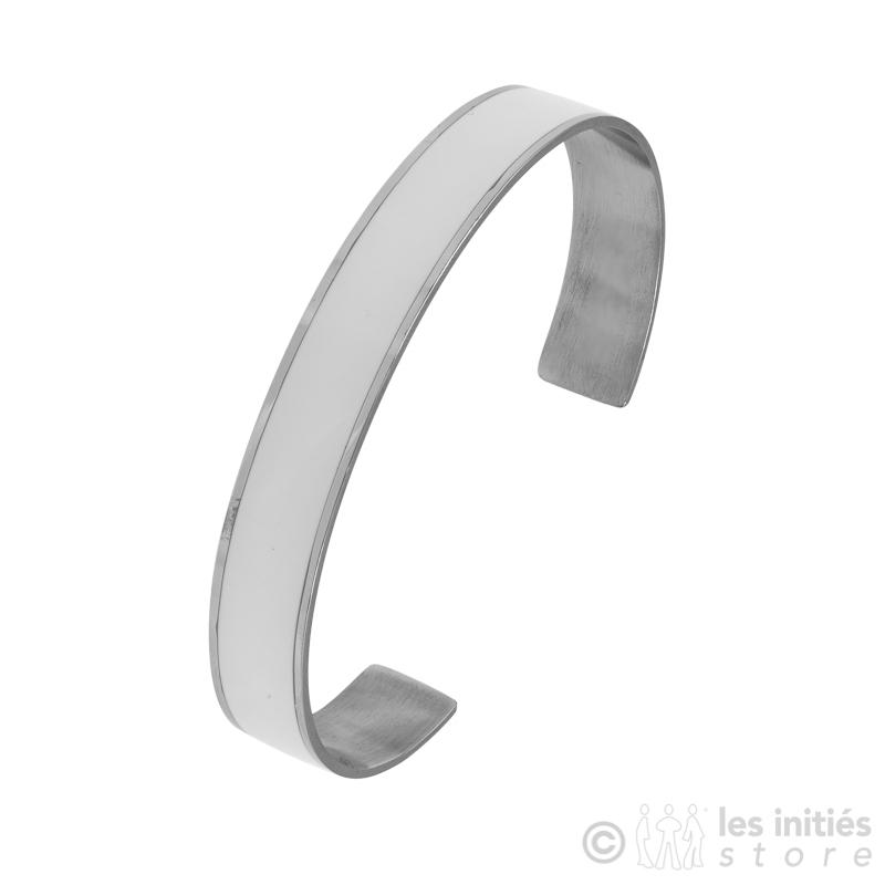 bracelet acier émaillé blanc