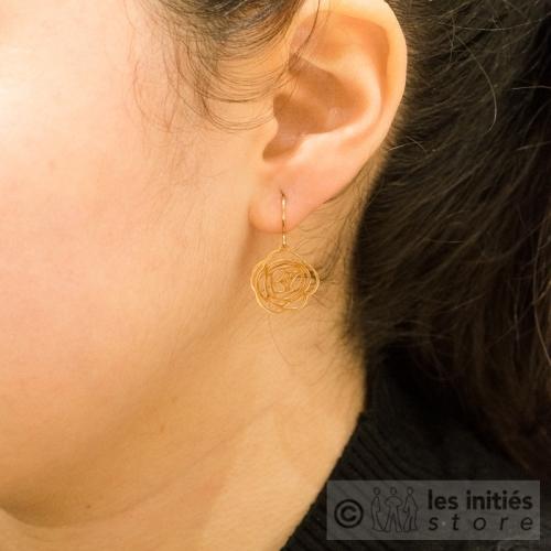 boucles d'oreilles fleurs ajourées