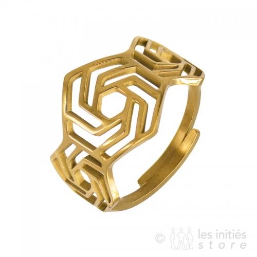 geometric ring gold