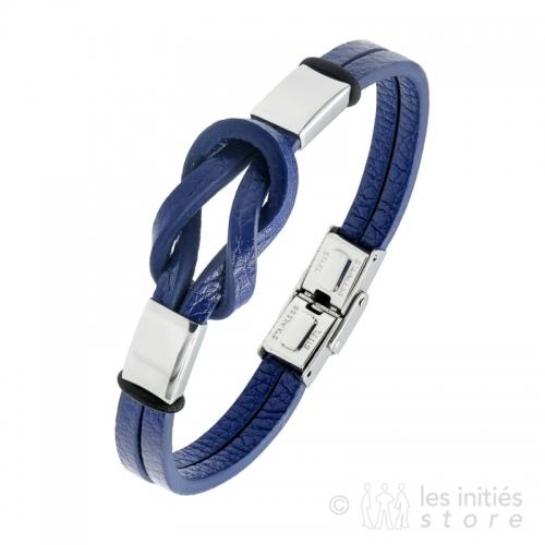 bracelet homme noeud cuir bleu