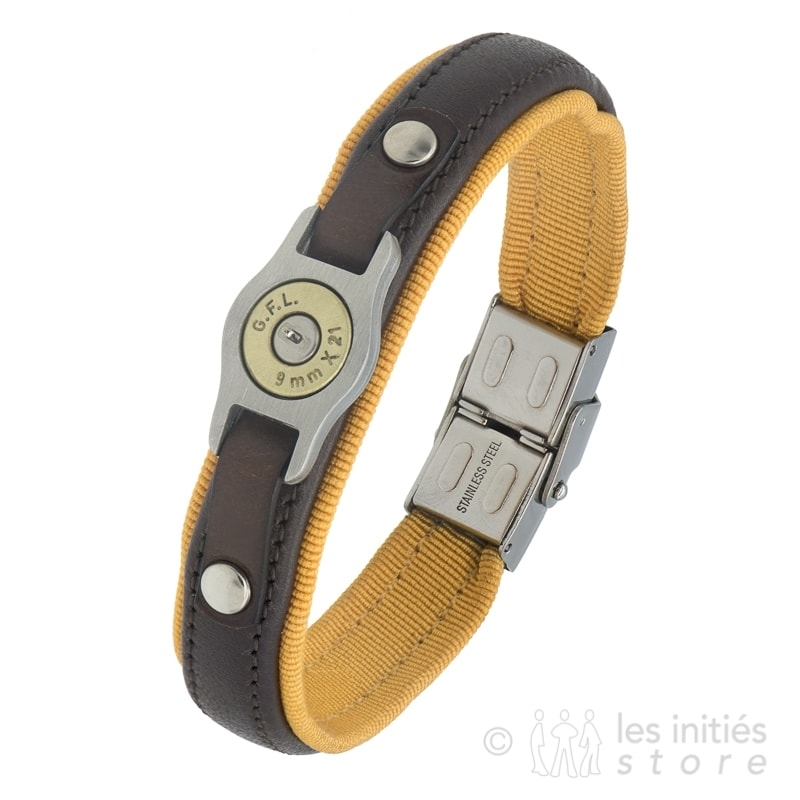 bracelet douille balle cuir