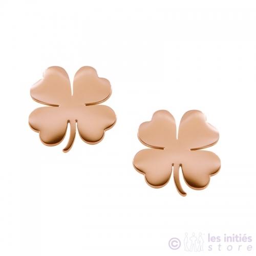 pink gold stud clover earringss