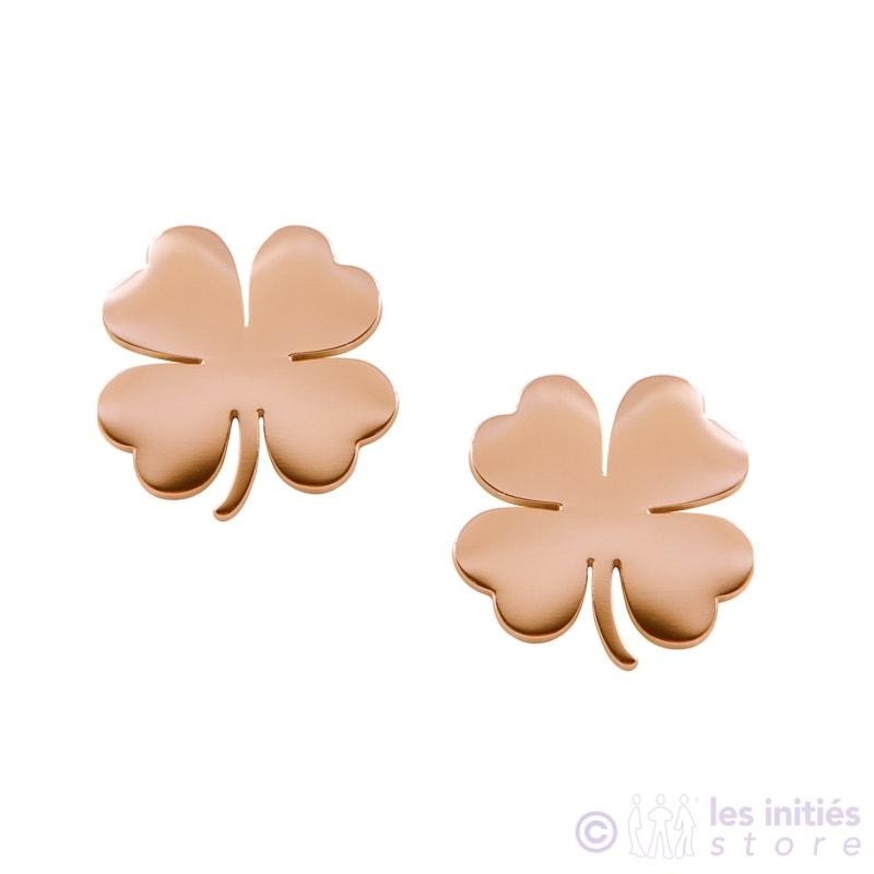 boucles d'oreilles trèfles dorées rosées