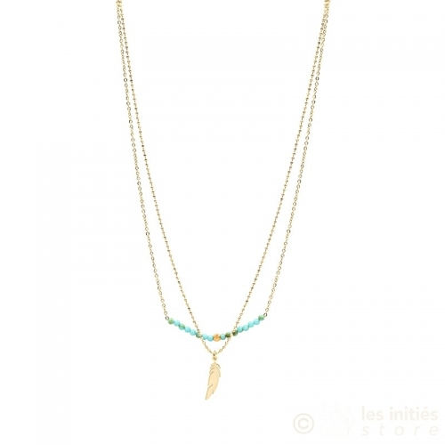 teal beads and feather necklace gold