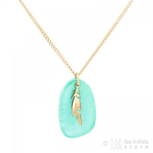 collier plume dorée et pierre turquoise