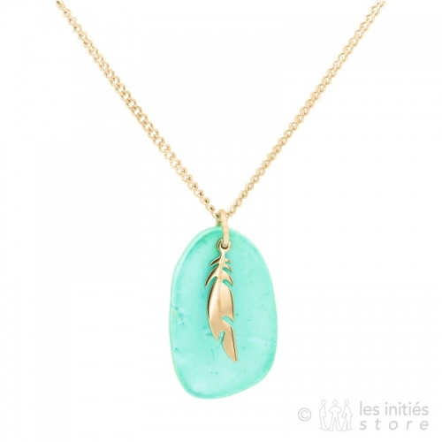 zag bijoux gold feather necklace