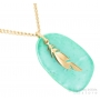 turquoise and feather gold necklace