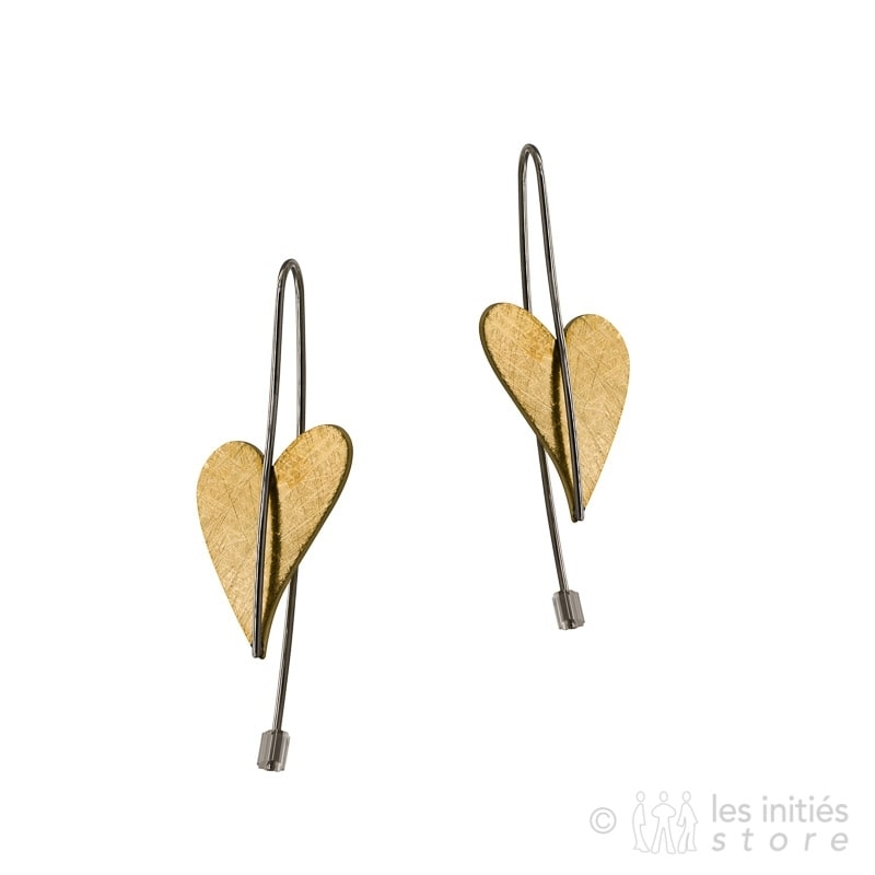 long pendant heart gold earrings