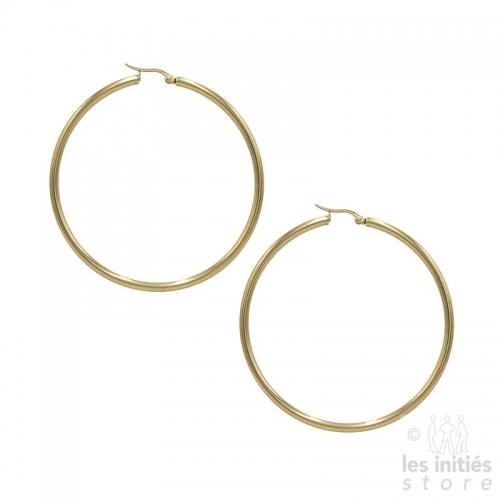 trendy large hoop earrings 6.6 cm - 0.3 cm - gold