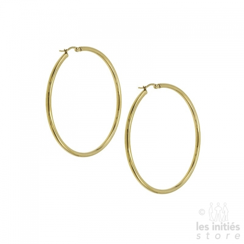 best large hoop earrings 6.6 cm - 0.3 cm - gold