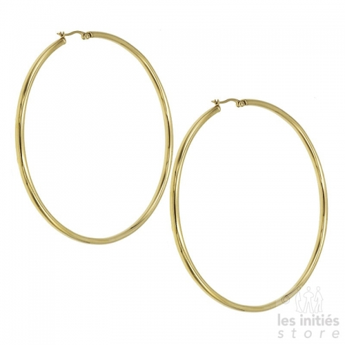 Les Initiés maxi hoop earrings 8.8 cm - 0.3 cm - gold