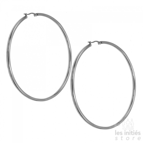 Les Initiés maxi hoop earrings 8.9 cm - 0.3 cm - silver