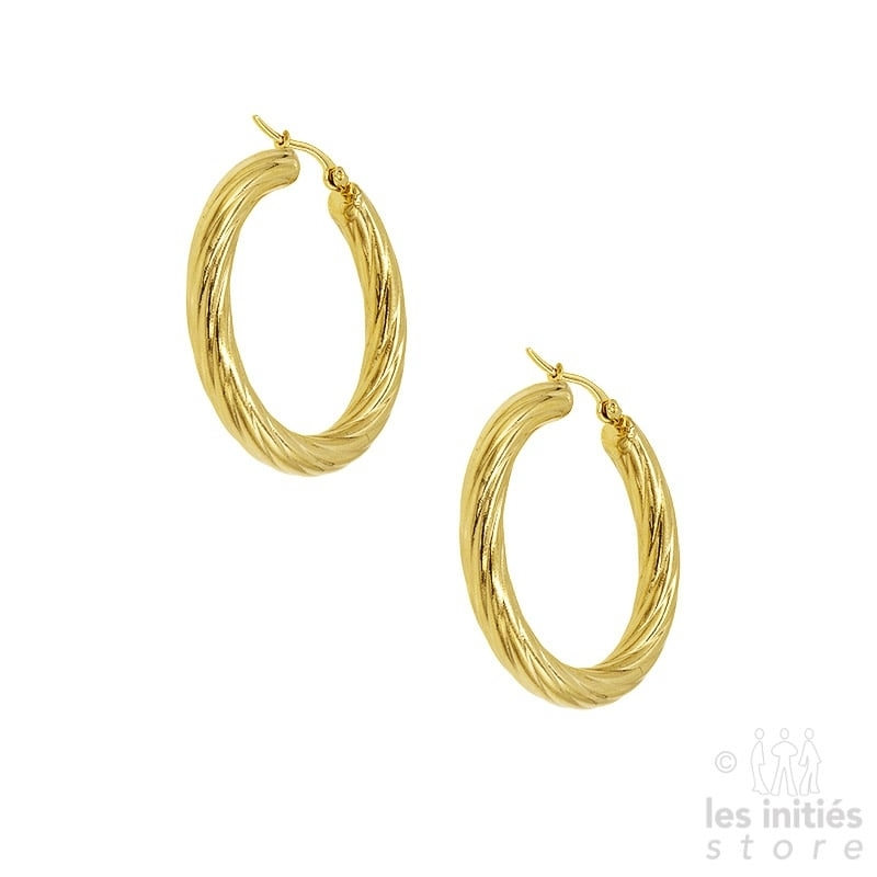 Les Initiés twisted Creoles 4 cm - gold
