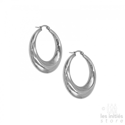 Thick curved creoles 4 cm - steel