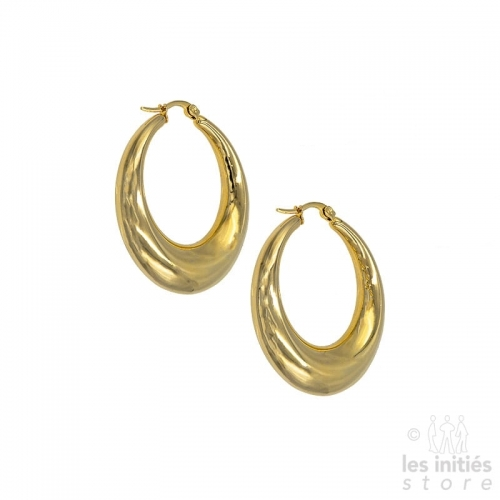 Thick curved creoles 4 cm - gold
