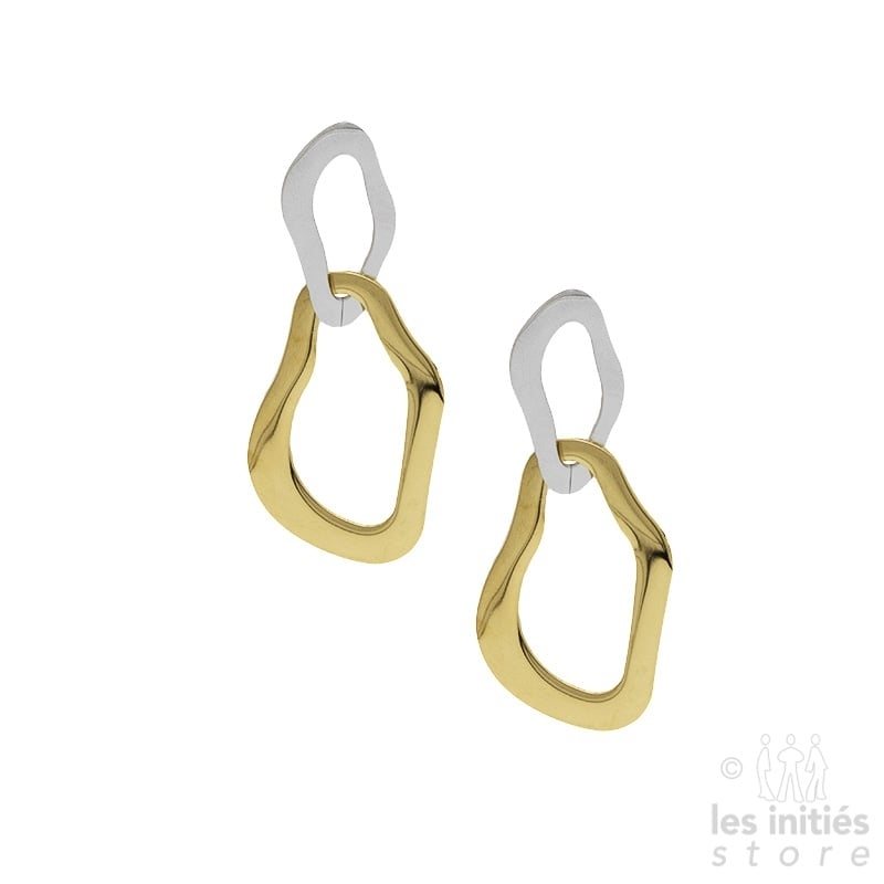 Les Initiés double earrings - steel-gold