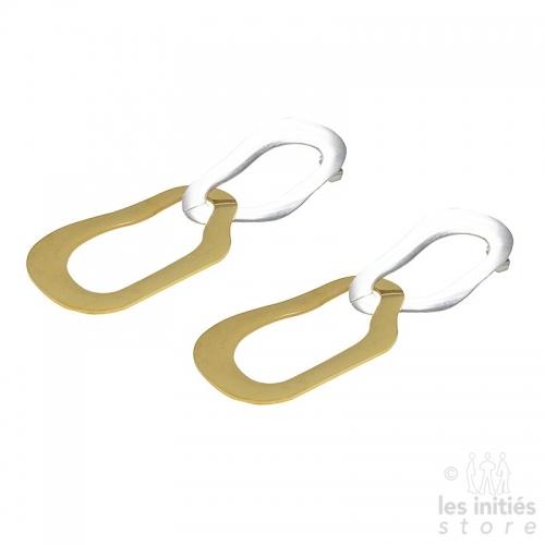 Boucles d'oreilles Les Initiés doubles acier-dorées