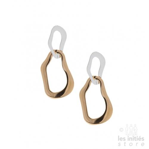 Boucles d'oreilles Les Initiés doubles acier-doré rosé