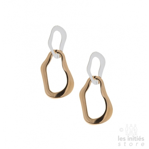 Les Initiés double earrings - steel-rose gold