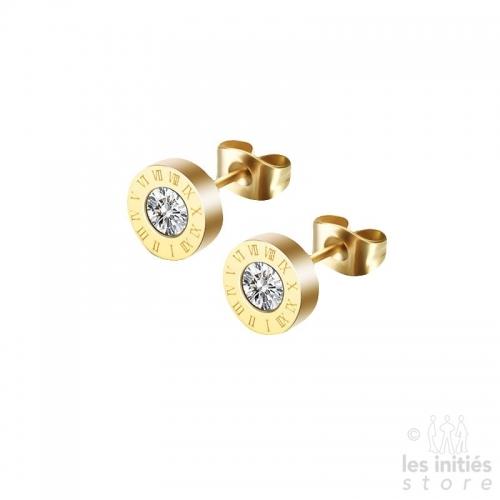 Boucles d'oreilles horloge dorées
