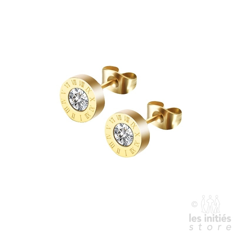 Les Initiés stud earrings numbers - gold