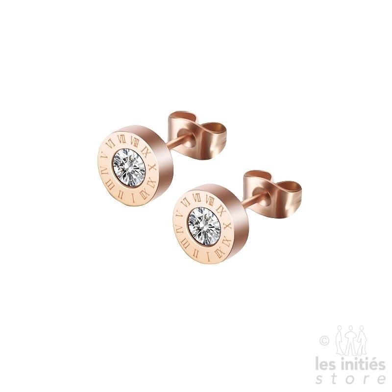Boucles d'oreilles montre doré rosé