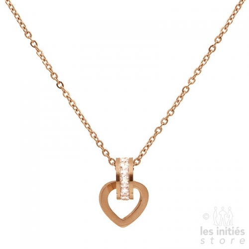 Les Initiés necklace heart rhinestone - rose gold