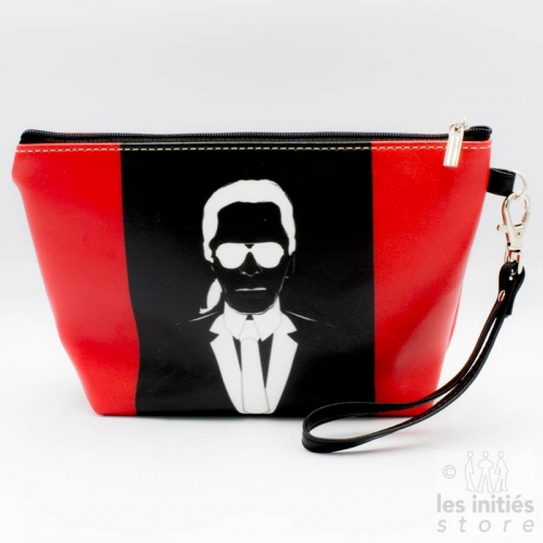 lined make-up pouch - red