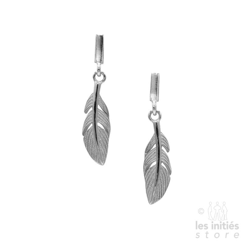 Boucles d'oreilles Les Initiés petites plumes - Argent 925