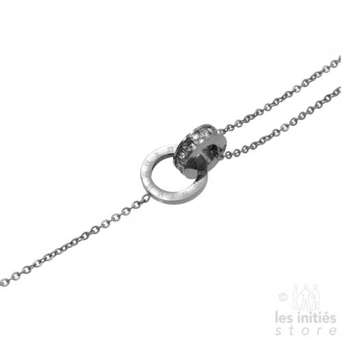 Les Initiés bracelet numbers rhinestone - Steel