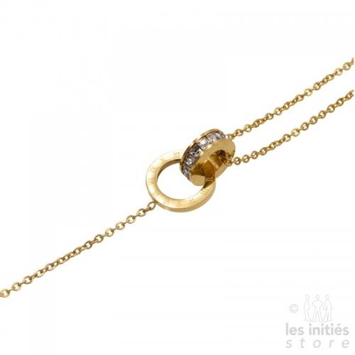 Bracelet chiffres et strass Les Initiés acier doré