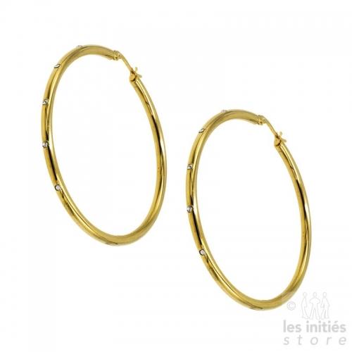 Boucles d'oreilles créoles strass 5,6 cm x 0,3 cm Les Initiés dorées