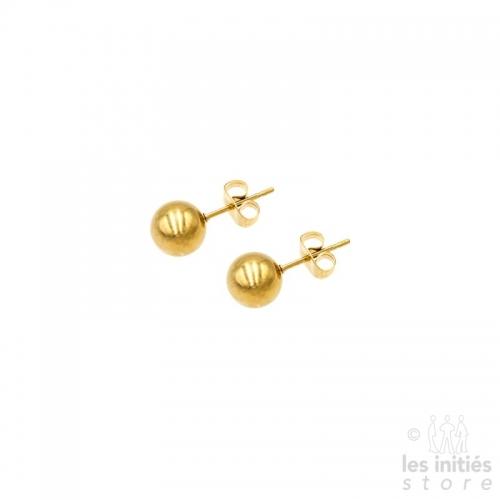 golden steel ball earrings